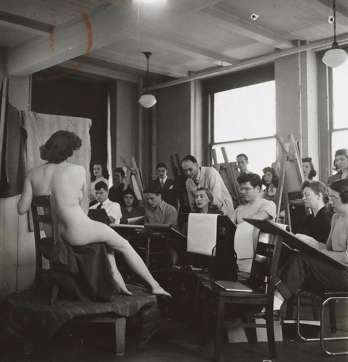 Students Drawing A Nude Model In An Art Class, 1948, Columbia University