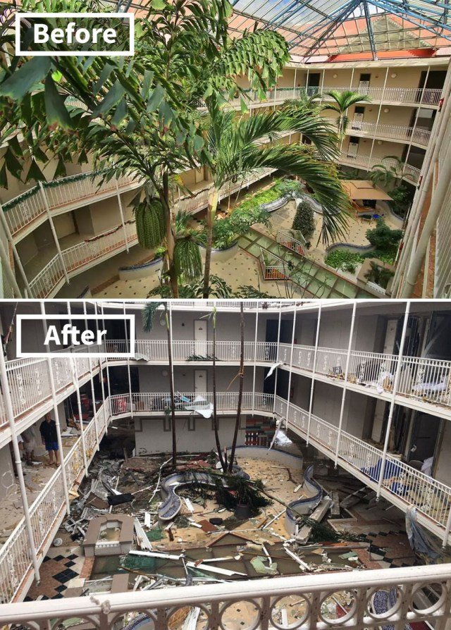 Beach Plaza Hotel In St Martin (Before And After Irma Damage)