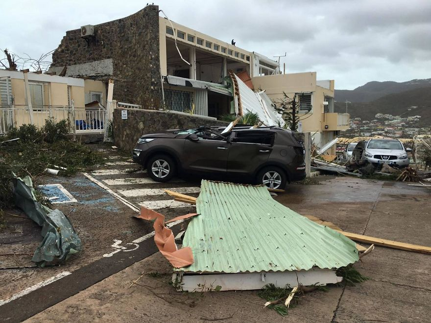 Cars Were Crushed By Flying Debris And Roofs Were Torn Off Houses On Saint Martin As The Storms Hit