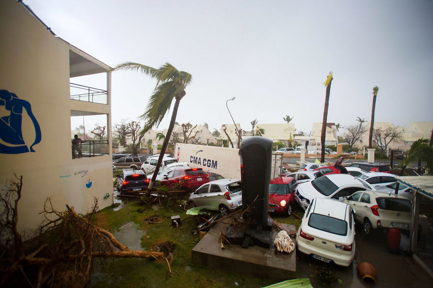 Cars Are Left Piled On Top Of One Another At The Hotel Mercure In Marigot, Saint Martin