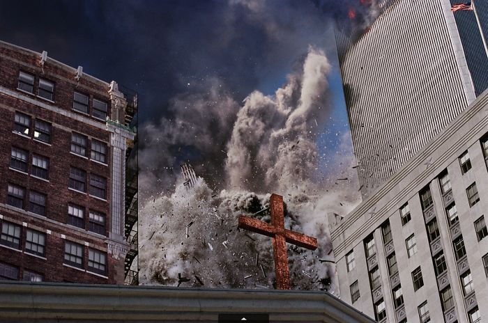 The South Tower Disintegrates, Raining Debris Behind A Cross Atop Trinity Church