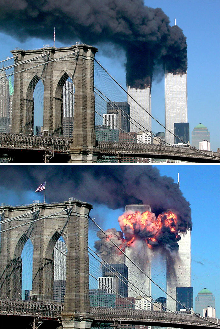 A Plane Explodes After Hitting The Second Tower Of The World Trade Center As The Other Tower Burns