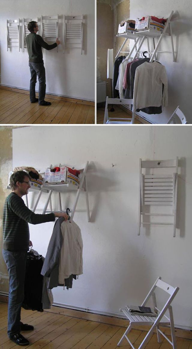 Use Old Chair To Make Shelves For Your Stuff