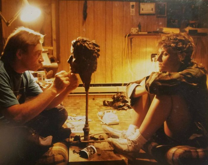 My Dad Sculpting A Bust Of My Mom 1980s