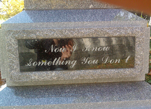 Visiting My Grandma's Grave And Found This On A Tombstone Nearby