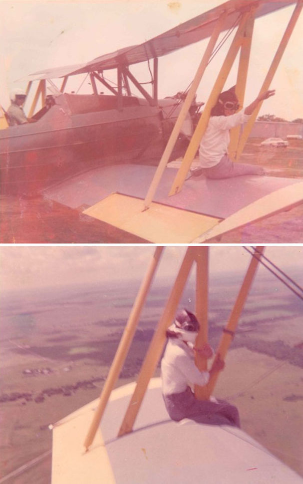 Granny On The Wing Of My Dad's Cropduster Plane. She Did This A Few Times That I Know Of