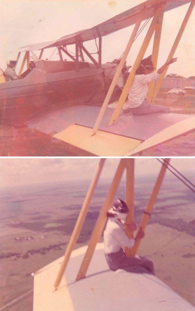 Abuelita En El Ala Del Avión Fumigador De Mi Padre. Que Yo Sepa, Hizo Ésto Varias Veces