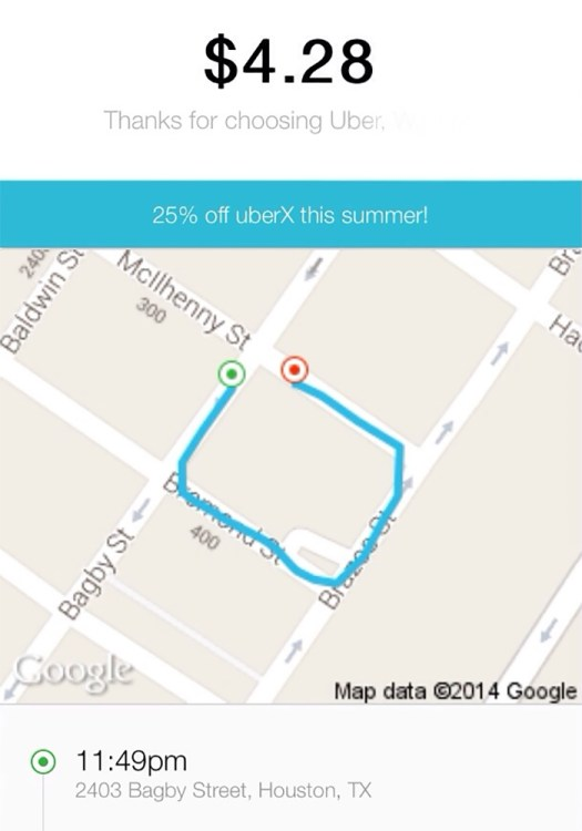 After A Night Of Fairly Heavy Drinking, I Woke Up To Find I Took A Very Unnecessary Cab Ride... Thank You Uber For Rubbing It In My Face With The Detailed Map....