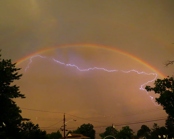 I Caught A Pic Of Lightning Bouncing Off A Double Rainbow