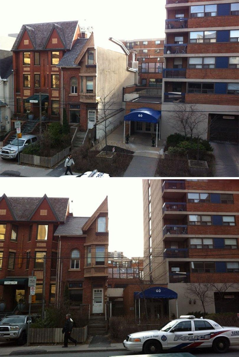 Um residente de um duplex de Toronto recusou-se a vender, então eles o cortaram pela metade