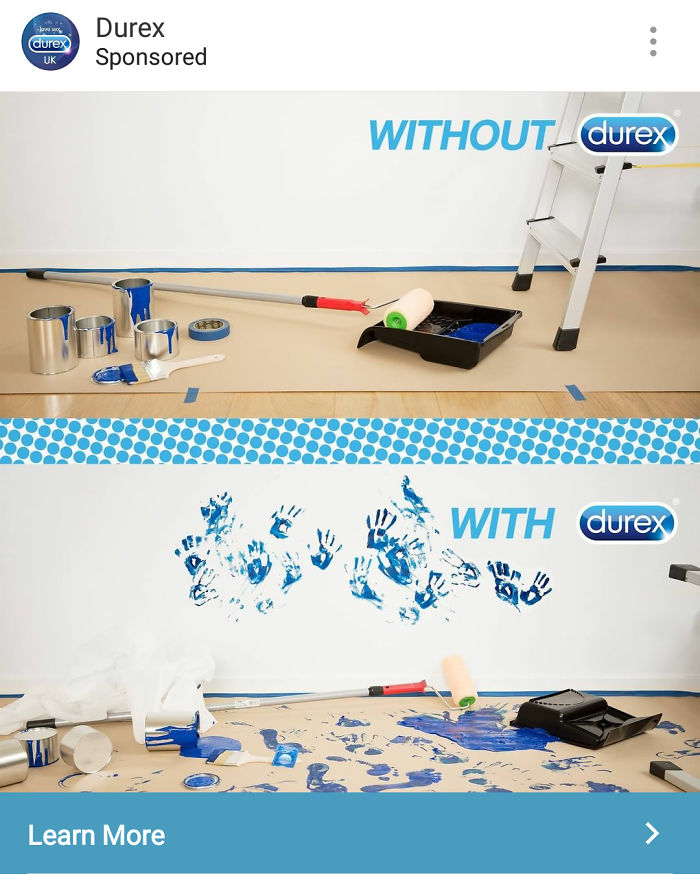 Saw This Durex Ad On Instagram, I Think Their Designer Misunderstood The Meanings Of With And Without...