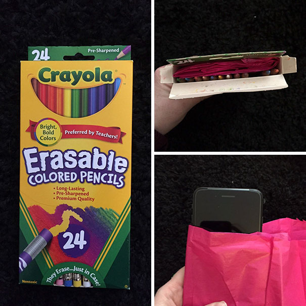 My Husband Always Got Colored Pencils For His Birthday And Christmas Growing Up And He Hates Them Cause He's Colorblind. He's Wanted An Iphone Forever So Today I Bought Him One And This Is How I Wrapped It