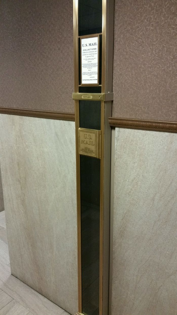 This Mail Slot In A Building I Was In Today Sends The Mail Down 17 Stories To The Basement. Original From 1929
