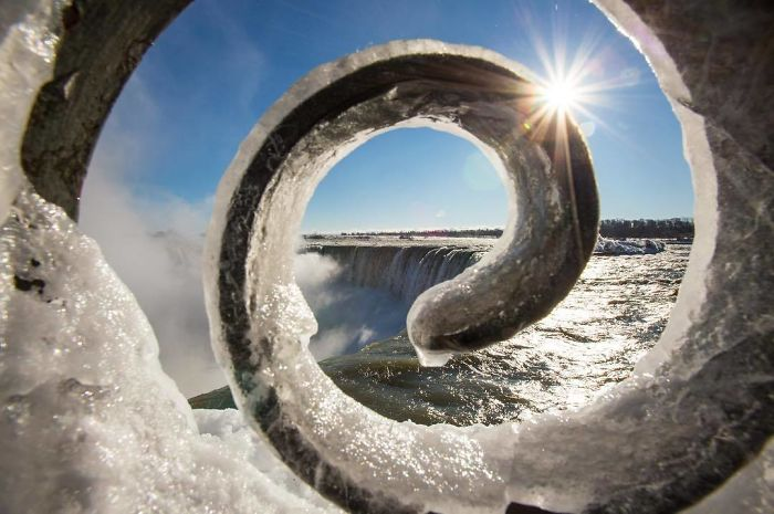 One Last Photo From My Recent Visit At Niagara Falls. It's A Place I Enjoyed Visiting, I Went Under The Falls, Spent Time With The Butterflies And Visited The Indoor Flower Garden While Of Course Walking Along The Seawall Of The Falls! I'm Always Looking For Something Different To Capture And This Is The One Shot I Preferred The 3 Elements Of Ice Water And The Sun Completed The Composition. Hope You Like It. 😀
