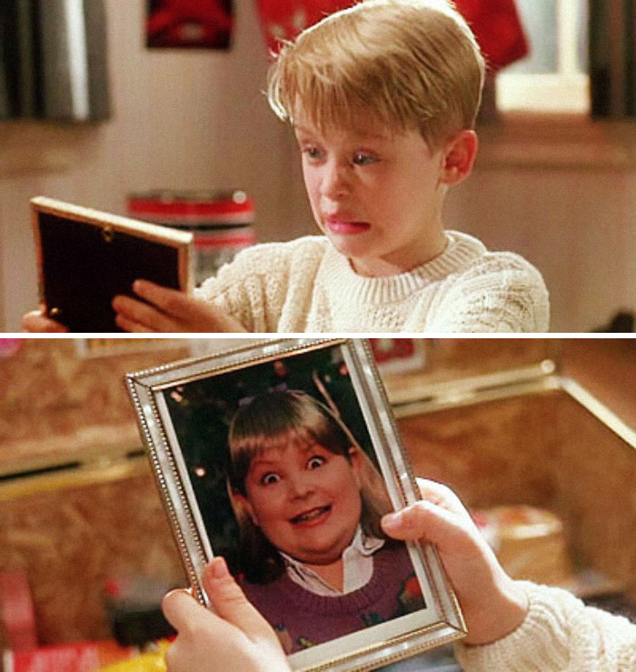 "When Kevin Goes Through Buzz's Things, He Finds A Picture Of His Girlfriend. He Says ""Woof,"" Implying That She's A Dog. Director, Chris Columbus, Thought It Would Be Too Mean To Ask A Real Young Girl To Be In The Photograph So He Asked The Film's Art Director To Have His Son Dress Up As A Girl"