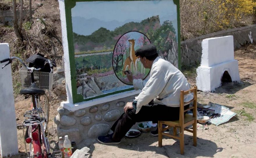 Perhaps The Most Ridiculous Prohibition I Faced: This Official Painter Was Working On A New Mural In Chilbo. I Took The Picture, And Everybody Started Yelling At Me. Since The Painting Was Unfinished, I Couldn't Take The Picture