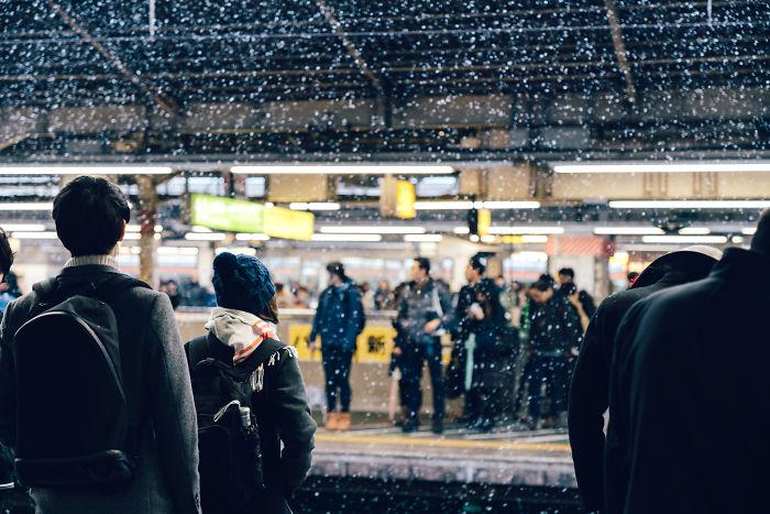 Snowy Shinjuku Sta, Tokyo