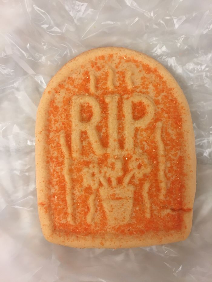 Hospital I'm At Is Putting Cookies On The Patient Trays For Halloween. I Don't Think They Thought This Through