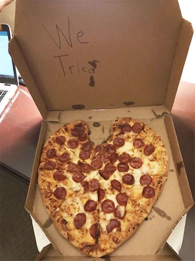 Mi novia me solicitó una pizza sorpresa en constituye de corazón mientras estaba de viaje de negocios