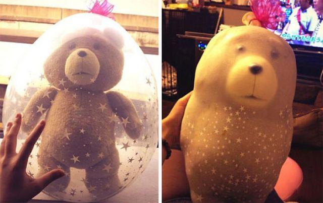 Ayer le preparé un regalo a mi novia con un oso de peluche, y hoy éste es el aspecto que tiene