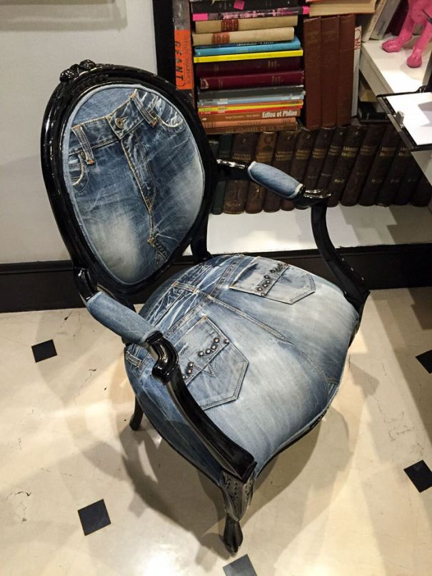 This Chair Is Upholstered In Old Jeans