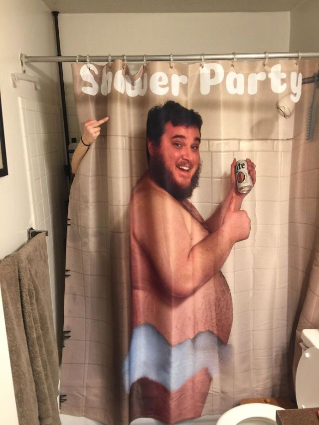 I Made My Wife A Shower Curtain Of Me Drinking A Beer In The Shower. She Wasn't Impressed