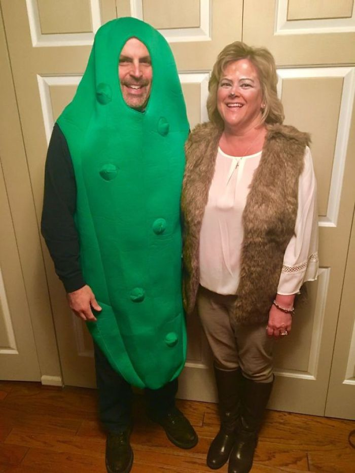 """Mom And Dad Before Their Halloween Party. He's A Dill Pickle. She's A Female Deer. Together They're A """"Dill-Doe."""" And Also My Heroes"""