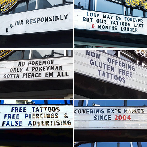 This Tattoo Shops Signs Are Always On Point