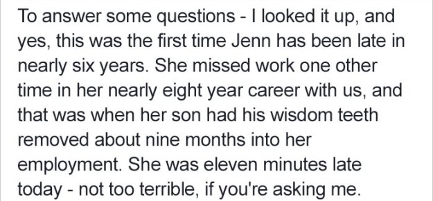 boss-response-woman-late-work-jenn-7 Woman Texts Boss That She's Going To Be Late For Work, And He Has Best Response Ever Design Random