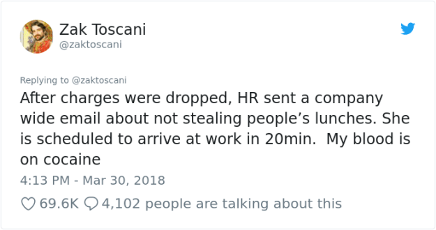 stolen-office-lunch-shrimp-fried-rice-zak-toscani-10 Guy's Lunch Gets Stolen At Work So He Asks To See The Security Tape, Can't Believe His Eyes Design Random
