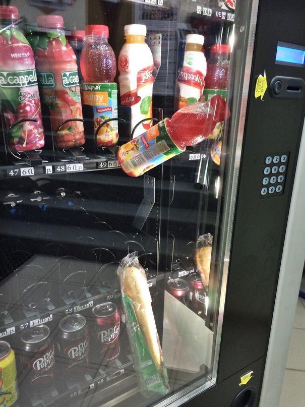 Got A Sandwich Stuck In Vending Machine. Bought A Drink To Push The Sandwich. Damn