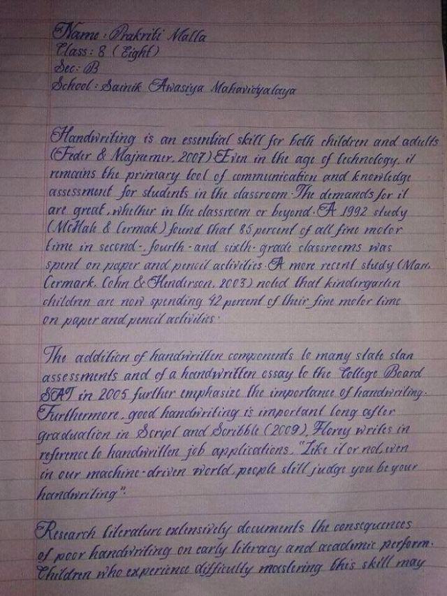 Letra de un alumno indio de 8º grado