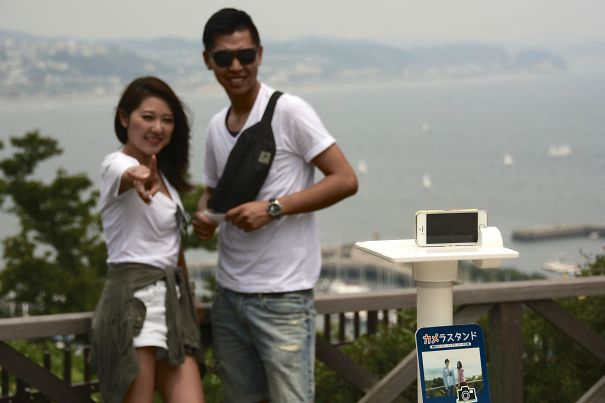 At Some Tourist Spots In Japan There Are Stands To Hold Your Smartphone So You Can Take Good Selfies