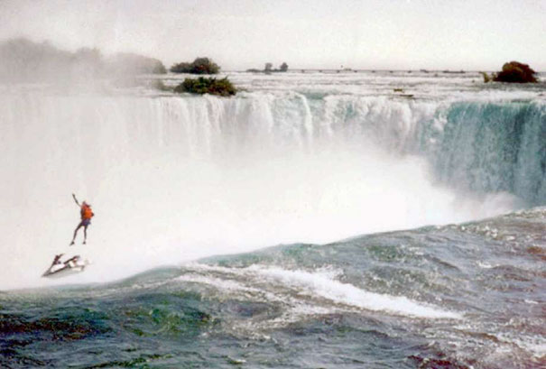 Robert Overcracker, A Professional Stunt Man, Drove A Jet Ski Over Niagara Falls To Raise Awareness For The Homeless Back In 1995. This Photo Was Snapped Just As His Parachute Failed To Deploy, Sending Him Down To His Death