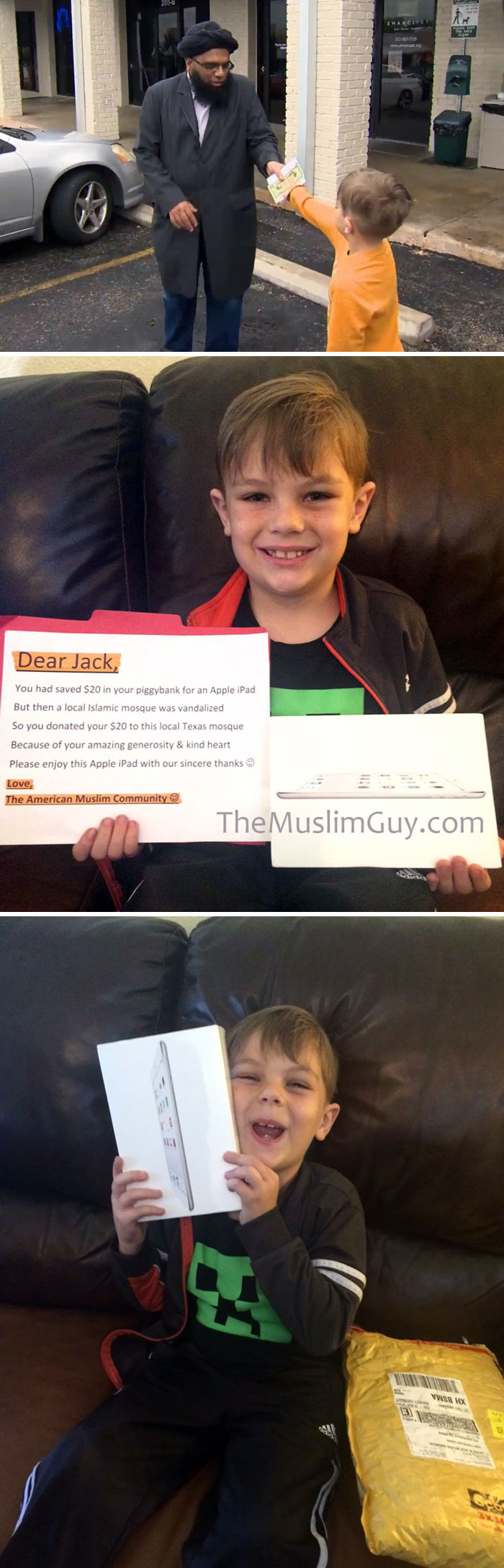 7-Year-Old Boy Donates $20 From Piggy Bank To Help Vandalized Mosque. Wanted Apple iPad. So He Got One