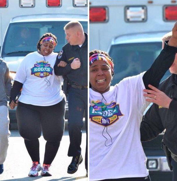 Louisville Police Officer Helps Encourage Lady Who Has Lost 200 Pounds And Did Her First 10k