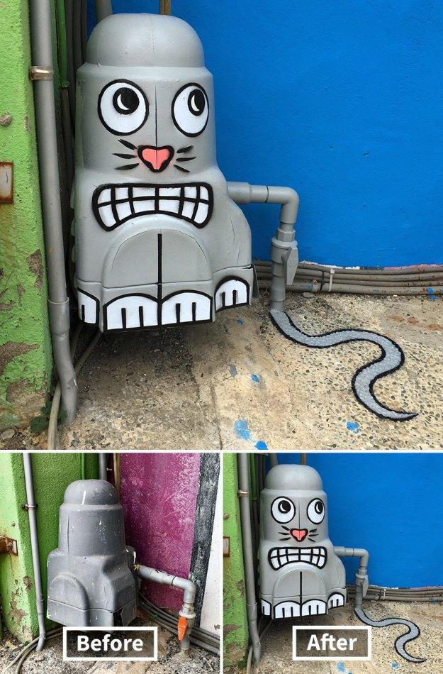 street-art-tom-bob-new-york-city-15-5b169f6db1d5c__880 Genius Street Artist Is Running Loose In New York, And Let's Hope Nobody Catches Him (30+ New Pics) Art Design Random