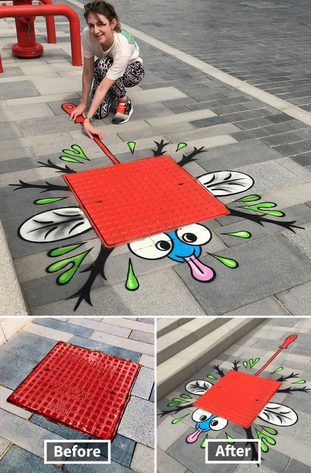 street-art-tom-bob-new-york-city-16-5b169f6fad7c2__880 Genius Street Artist Is Running Loose In New York, And Let's Hope Nobody Catches Him (30+ New Pics) Art Design Random