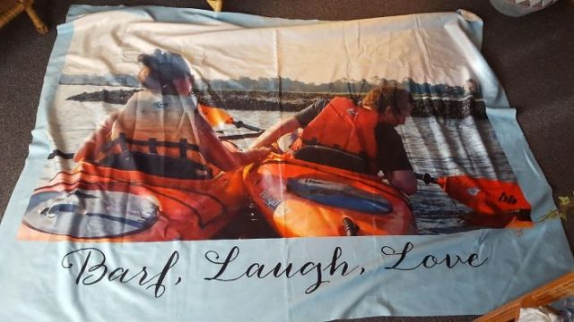 Went On A Beach Vacation, Dad Thought He Was Capturing A Tender Moment... Boyfriend Just Asked Me To Hold Onto His Boat While He Puked. Naturally, I Blew It Up And Put It On A Blanket