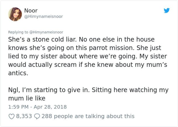crazy-mom-buys-parrots-twitter-5b430f42227e1__700 Mom Calls Daughter Asking If She Can 'Keep A Secret' From Dad, And It Escalates Hilariously Design Random