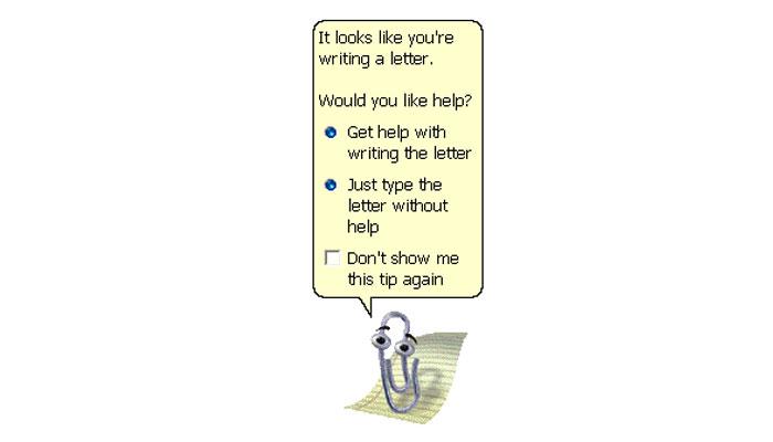 Ayudante de oficina Clippy, Microsoft, década de 1990