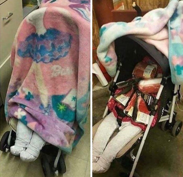 Un sospechoso trabajador de supermercado encontró esto en un carro de bebé