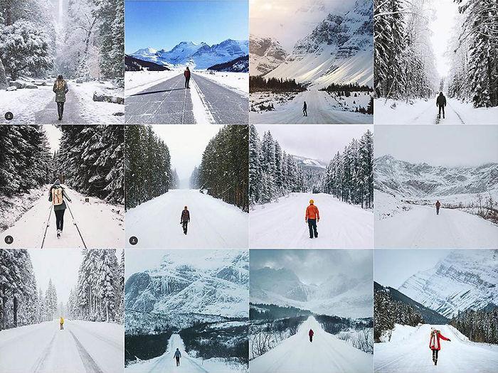 Persona de pie en medio de un camino cubierto de nieve