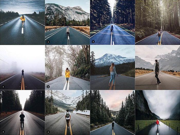 Persona caminando en el centro de una carretera solitaria