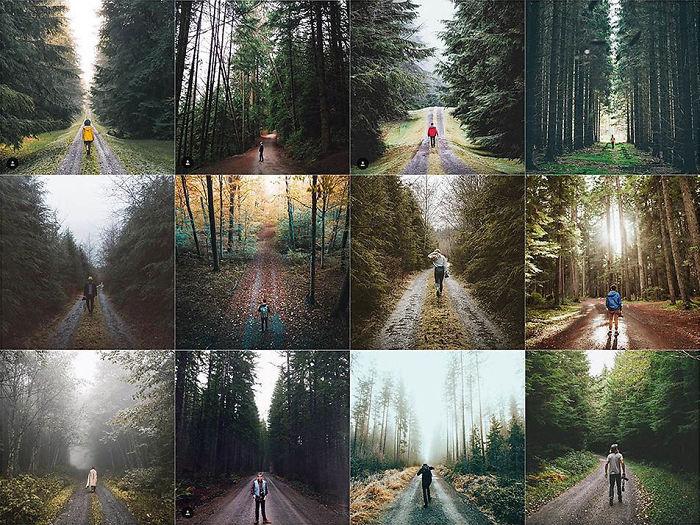 Persona centrada en frente de un bosque