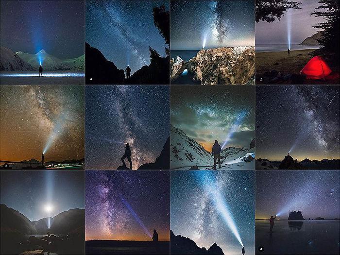 Posando frente a Starry Cielo con un faro