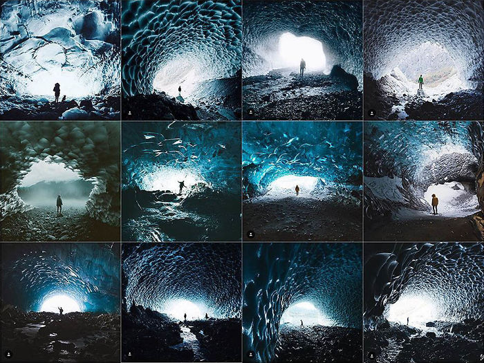 Persona centrada dentro de una cueva de hielo