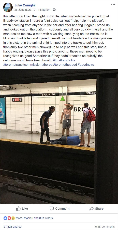 Este hombre salta en las vías del metro para salvar a un ciego caído