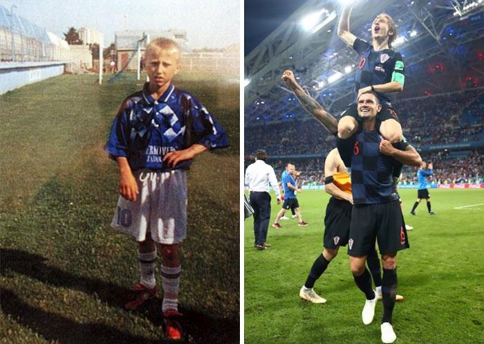 Luka Modric creció en los campamentos de refugiados en una zona de guerra. Cuando era joven le dijeron que era demasiado pequeño y débil para convertirse en un jugador de fútbol profesional. Recientemente jugó en la final de la Copa del Mundo