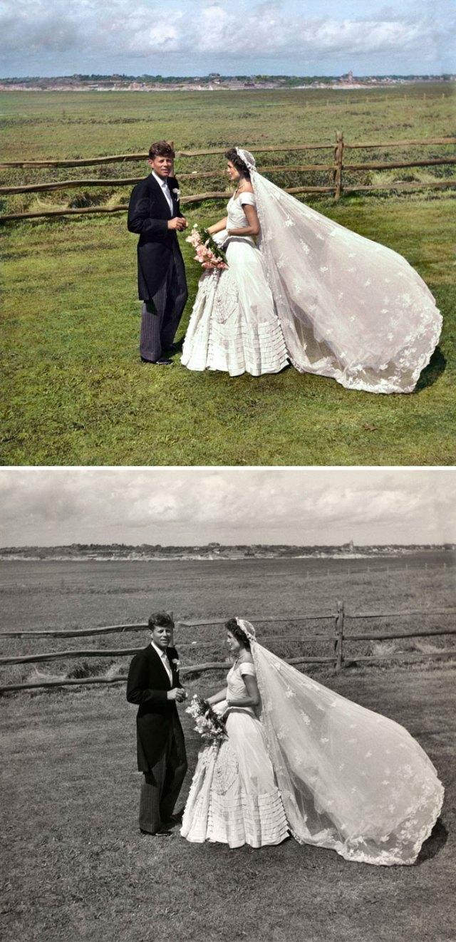 John F. Kennedy y Jacqueline Bouvier Kennedy en el dia de su boda. doce de Septiembre de 1953